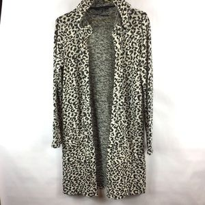 Forever 21 Leopard Open Front Cardigan - Sz S